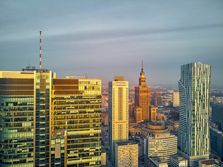Obraz na Szkle Warszawa Beautiful panoramic aerial drone view to panorama cityscape of Warsaw modern City, PKiN and