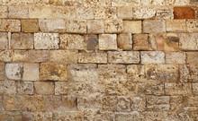 Wall Of White Limestone Bricks Blocks