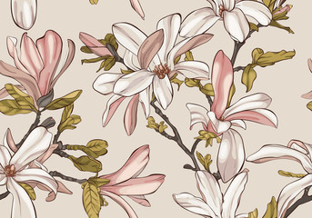 Fototapeta Kwiaty Seamless pattern with magnolia flowers.