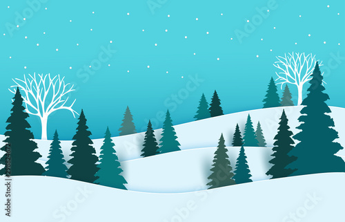 Foto auf AluDibond Turkis Winter landscape with houses and trees.Merry Christmas and Happy New Year. paper art design.Vector EPS 10.