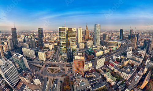 Fototapeta Beautiful panoramic aerial drone view to panorama cityscape of Warsaw modern City, PKiN and
