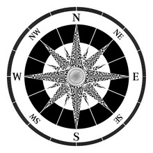 A Map Compass Rose Design In A...