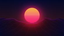 Synthwave Sun. Dark 80s Backgr...