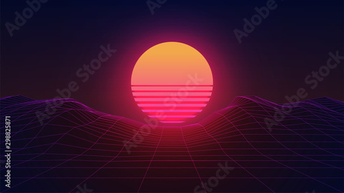 Fototapeta Synthwave Sun. Dark 80s Background with wireframe landscape. 3d virtual scene. Sci-fi retro futuristic style. Abstract Sunset. Template for party flyer, banner or poster. Stock vector illustration obraz na płótnie