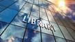 Leinwanddruck Bild - Library glass skyscraper with mirrored sky illustration