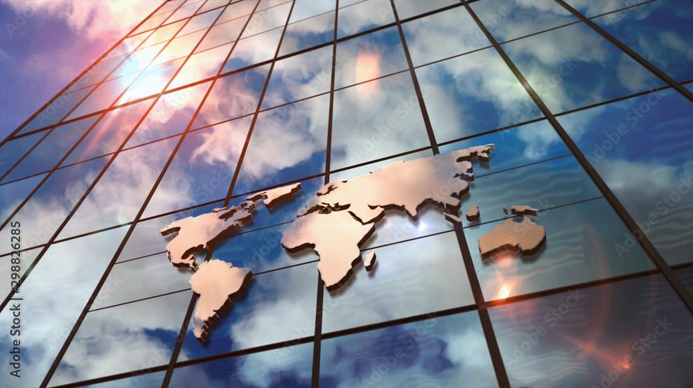 Fototapeta World Map sign on glass skyscraper with mirrored sky illustration