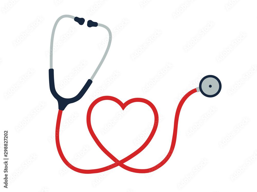 Fototapety, obrazy: Flat cartoon style heart Stethoscope icon. Healthcare logo image. Vector illustration. Isolated on white background.