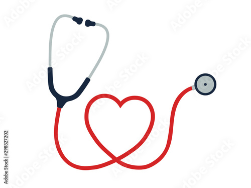 Pinturas sobre lienzo  Flat cartoon style heart Stethoscope icon