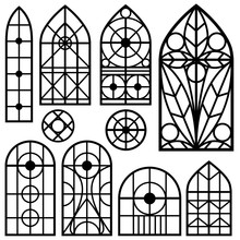 A Set Of Vintage Windows Of Different Shapes. The Elements Of Historical Buildings For Design