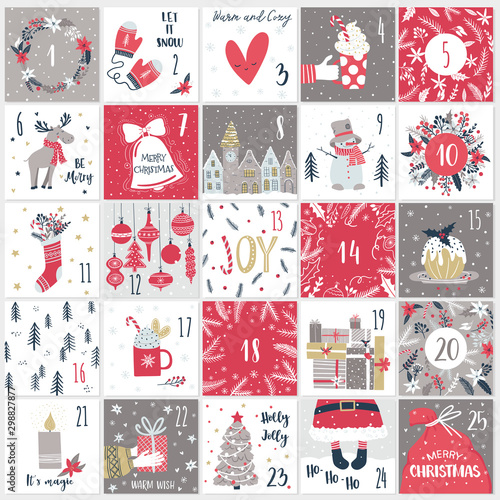 Photo  Christmas advent  calendar. Countdown till Christmas kit