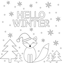 Hello Winter. Card With Snowflakes And Fox. Coloring Page.