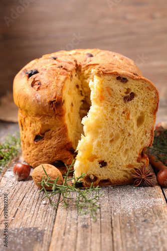 panettone, christmas cake and decoration Canvas Print