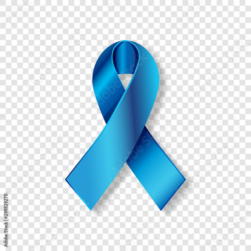 Photo Vector Realistic Blue ribbon to Prostate Cancer Awareness Month, October
