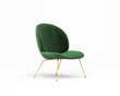 canvas print picture - 3d rendering of an Isolated green velvet modern chair