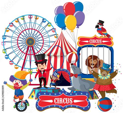 Circus animals and ring master Wallpaper Mural