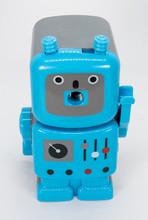 A Blue Robot Shaped Pencil Sharpener