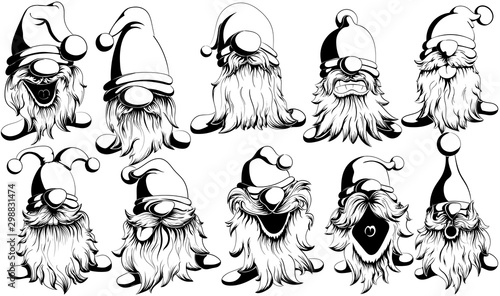 Fotografie, Tablou Funny and funny vector black and white gnomes with mustache and beard