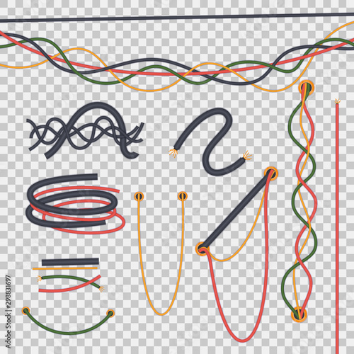 Fototapeta  Realistic isolated electrical wires intertwined with each other