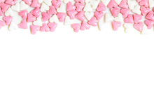 Sugar Hearts Colored White And Rose On White Background