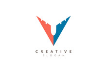 Initial V Logo Design Resembles A Plane. Minimalist And Modern Vector Illustration Design Suitable For Business Or Brand.