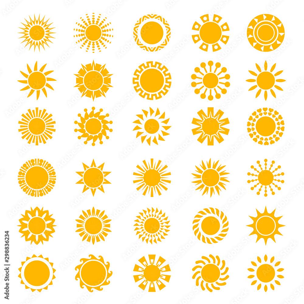 Fototapety, obrazy: Sun icons. Sunrise creativity sunny circle shapes logo sunset stylized symbols vector collection. Sunshine and sunlight, light and hot logo set illustration
