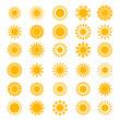 Sun icons. Sunrise creativity sunny circle shapes logo sunset stylized symbols vector collection. Sunshine and sunlight, light and hot logo set illustration