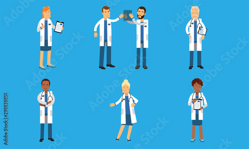Medical Characters In Different Actions Depict Hospital Routine Vector Illustrat Wallpaper Mural