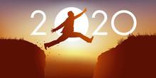 Un Homme Saute Par Dessus Un Gouffre Entre Deux Falaises Devant Un Soleil Au Zenith Et Symbolise Le Passage à La Nouvelle Année 2020