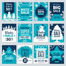 Christmas Sale. Winter Promotional Labels Cards Advertising Special Offers Season Sales And Perfect Offers Vector Cards Collection. Christmas Promotion Discount Poster, Best Price Sale Illustration