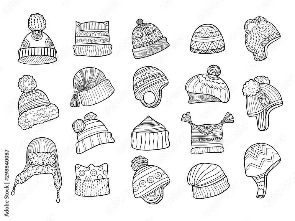 Fototapety, obrazy: Winter doodle hat. Clothes flapping ears warm hat with fur knitted vector sketches illustrations. Clothes and cap, scarf knitted, clothing accessories sketch knitwork