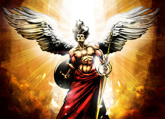 Mighty muscular angel with ...