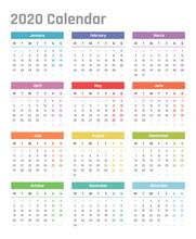 Calendar For 2020 Starts Monda...
