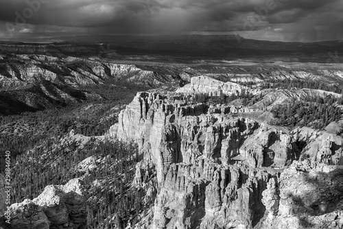 Bryce Canyon in Utah in black and white
