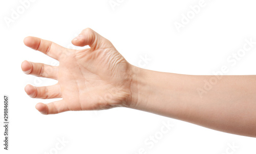 Foto  Hand of woman holding something on white background