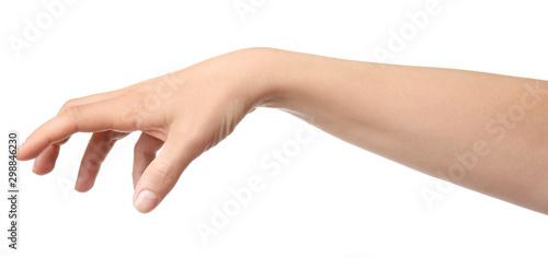 Hand of woman holding something on white background Billede på lærred