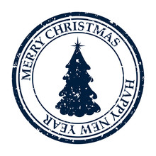 Merry Christmasand Happy New Year Grunge Dirty Post Stamp Xmas Tree Icon