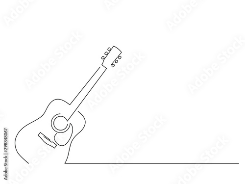 Fotografie, Tablou  Acoustic guitar isolated line drawing, vector illustration design