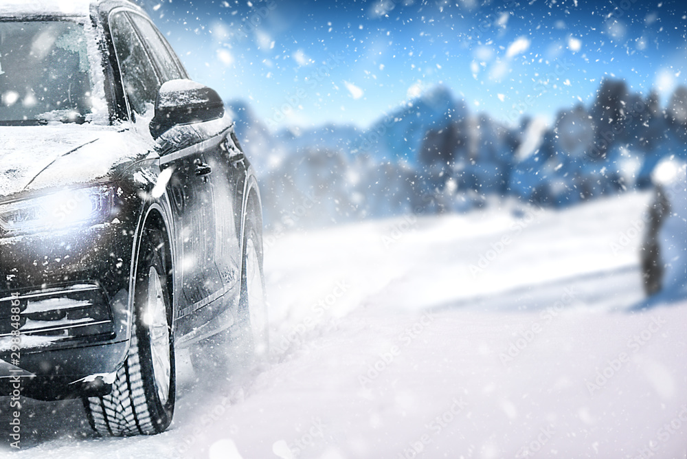 Fototapety, obrazy: Car in winter and lot of snow on road. Snowy background with tire.
