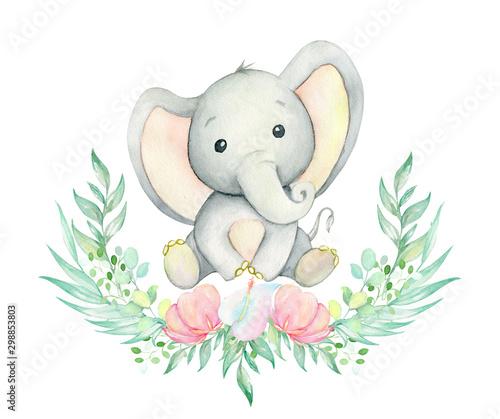 Fotografia, Obraz Elephant watercolor drawing