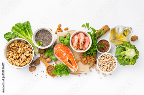 Food sources of omega 3 and omega 6 on white background top view Tableau sur Toile