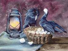 Watercolor Picture Of Two Ravens  Feasting On A Basket With Chicken  Eggs, And A Kerosene Lamp On  A Wooden Table