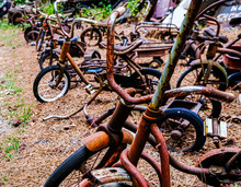 Line Of Old Rusty Bikes In A J...