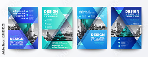 Fototapeta modern blue and green design template for poster flyer brochure cover. Graphic design layout with triangle graphic elements and space for photo background obraz