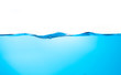 canvas print picture - Blue water splashs wave surface with bubbles of air on white background.