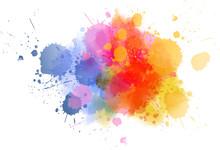 Multicolored Splash Watercolor Blot