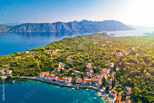 Korcula and Peljesac. Idyllic coastal village of Racisce on Korcula island and Peljesac aerial view