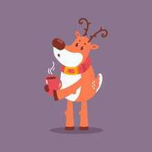 Cute Christmas Reindeer With Coffee Cup Vector Cartoon Character Isolated On Background.