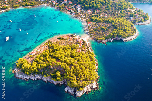 Aerial view of Gradina bay on island Korcula Fototapet
