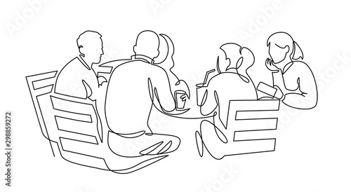 Pinturas sobre lienzo  Business team meeting continuous line drawing