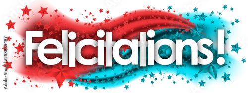Photo felicitations word in stars colored background